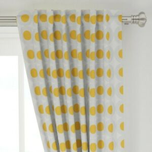 """Geometric Circles Polka Dots Orange Grey 50"""" Wide Curtain Panel by Roostery"""