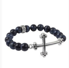 King Baby Studio Blue Tiger Eye Bracelet W/ Large Cross