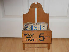 VINTAGE Wood Bath Soap and Hand Towel Holder with Old Ivory and Peets Soap Bars