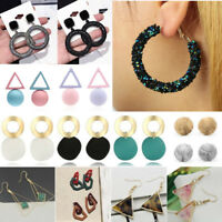 Fashion Women Metal Geometric Pendant Dangle Drop Statement Earrings Jewelry