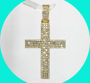 "2.00CT diamond encrusted cross pendant 14K YG 2"" long 13.1 GM"