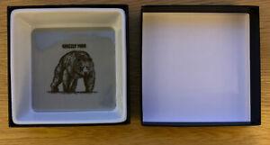 """BNIB Fish & Black """"Grizzly Man"""" Bear Ceramic Dish Gift Box Dad Gift"""