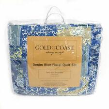 Gold Coast Reversible Denim Blue Floral Quilt 2 Piece Set - Twin