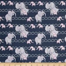 Dear Stella Dreamscape Elephants Pewter 100% Cotton Fabric Remnant 33""