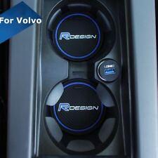 BLUE VOLVO R DESIGN CUP HOLDER ANTI-SLIP MAT CAR BADGE XC90 V90 V40 C30 V60 76mm