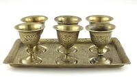 Vintage Brass Set of 6 Shot Glasses Miniature Wine Cups Goblets W/ Tray T064