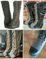 Sorel Cate The Great Tall Boot Wedge Sz 8 Charcoal Full Grain Leather Waterproof