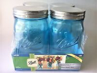 Ball Mason Jar-32 oz. Aqua Blue Glass Ball Collection Elite Color Series Wide