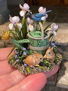 Vintage Artisan Miniature Dollhouse Mary McGrath Baby Bunnies Watering Can Bird