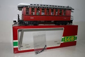 LGB G SCALE #3180 DENVER, SOUTH PARK & PACIFIC RR PASSENGER CAR W/ PASSENGERS