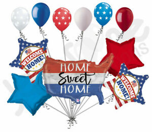 11 pc Patriotic America Welcome Home Balloon Bouquet USA Veterans Day Military