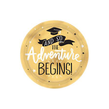 8 x Gold Graduation Paper Party Plates 18cm - And So The Adventure Begins