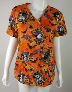 Disney Mickey Minnie Mouse Orange Happy Halloween Scrub Top Womens Size XS EUC