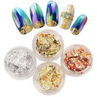 12 Pots Gold Silver Paillette Flake Foil For Acrylic UV Gel Nail Art Decoration