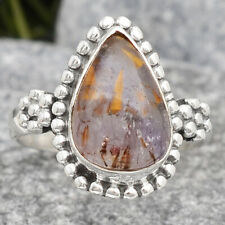 Cacoxenite Super Seven 7 Mineral 925 Sterling Silver Ring s.6 Jewelry 2873
