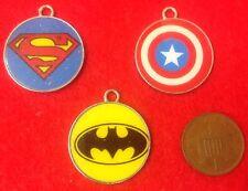 Set of 3 Captain America Superman & Batman Avengers Super Hero Enamel Charms -F1