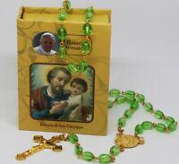 ROSENKRANZ Grün Taufe Kommunion KREUZ Kette MARIA Jesus GOTT HALSKETTE in Box