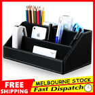 Leather Pen Pencil Brush Holder Office Desk Container Box Organizer Rack Storage