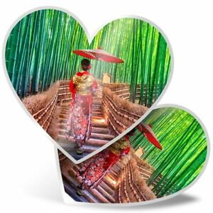 2 x Heart Stickers 15 cm - Bamboo Forest Japanese Woman  #21183
