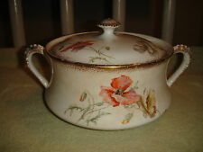 Antique Warwick China Lidded Serving Dish W/Handles-Floral Patterns-Gold Trim