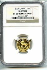 CHINA  1994  UNICORN  1/10  OZ GOLD   NGC PF  69  ULTRA CAMEO