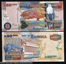 ZAMBIA 50000 KWACHA NEW 2011 BIRD LEOPARD UNC WILD LIFE ANIMAL CURRENCY BANKNOTE