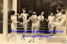 Old VINTAGE Antique GROUP FENCH NUDE Photo Reprint