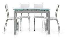 TABLE VERRE EXTENSIBLE 110X70 STRUCTURE ACIER GRIS PLAN VERRE