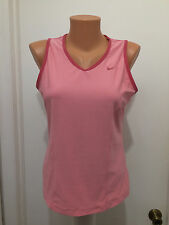 WOMENS  L NIKE FIT DRY SLEEVELESS TOP TANK SHIRT PINK POLYESTER SPANDEX V-NECK