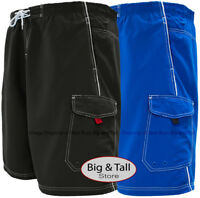 Big & Tall Men's Cargo Swim Trunks w/ Piping by H2O Sport Tech 2XL – 8XL