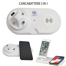 CARICATORE WIRELESS 5 IN 1 IPHONE ANDROID TYPE C MICRO USB LIGHTNIG INDUZIONE