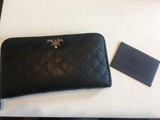 100% Authentic Prada Zip Around Wallet Black Saffiano Quilted Leather