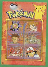 Pokemon Misty Starmie Brock Geodude Ash Krabby Souvenir Stamp Sheet Antigua E52