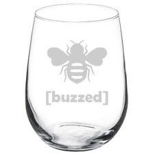 Stemless Wine Glass Goblet 17oz Funny Buzzed Bee