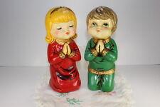 Ceramic Holiday Banks Boy & Girl Figurine Vintage Pajama Hand Painted Star Japan