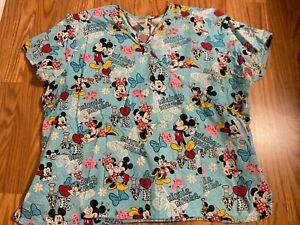 Womens DISNEY Minnie and Mickey scrub top sz 3X