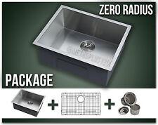 "22"" Single Bowl Undermount Grid Stainless Steel Kitchen Sink Zero Radius Package"