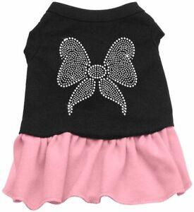 Rhinestone Bow Dresses Black with Pink XXL (18)