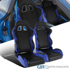 Black Blue Fully Reclinable PVC Leather Racing Seats w/ Sliders Driver+Passenger