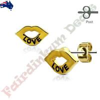 Pair of Gold Ion Plated Love Engraved Lips 316L Surgical Steel Stud Earrings