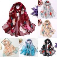 Fashion Women Print Flower Long Soft Wrap Lady Shawl Silk Scarf Scarves Holiday