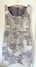 SZ 10 HALOGEN Summer Dressy Floral Taupe Silk Cotton Sheath Sleeveless Dress