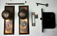 Antique VICTORIAN Tiger Copper Japanned Backplates Door Knobs Mortise Lock Key