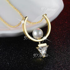 18K YELLOW GOLD GF MADE WITH SWAROVSKI CRYSTAL PENDANT PEARL NECKLACE TRIANGLE