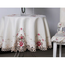 Yazi Embroidery Flower Tablecloth Round Satin Tabletop Cover Kitchen Decor Gift 145cm / 57inches