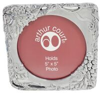 "Arthur Court Picture Frame Grape Vines Design Silver Tone Holds 5 x 5 "" Photo"