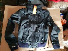 NEW SUPERDRY WOMENS XS SIZE 8 MOODY NORSE BOMBER LEATHER WINTER JACKET BLACKCOAT