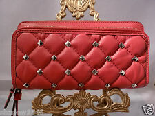 NWT COACH RED Metro Quilted Studded Leather Double Zip Accordion Wallet 52160