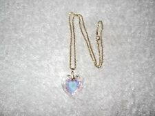 Ex-Display MULTI-COLOURED Clear Crystal Glass Faceted CHUNKY HEART NECKLACE