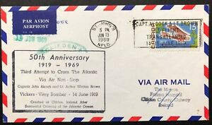 CANADA 1969 # 494 - ALCOCK-BROWN FLIGHT 50th ANNIVERSARY OF FLIGHT ON FDC
